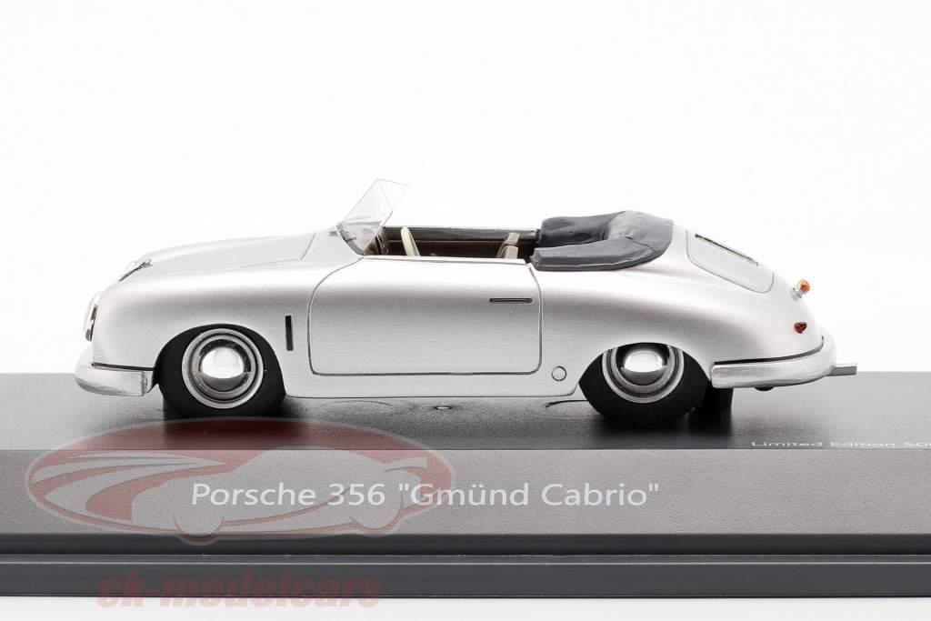 Porsche 356 Gmünd Converteerbaar zilver 1:43 Schuco
