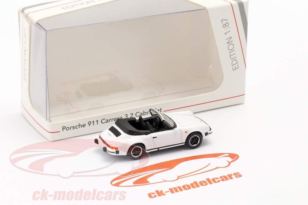 Porsche 911 Carrera 3.2 Cabriolet hvid 1:87 Schuco