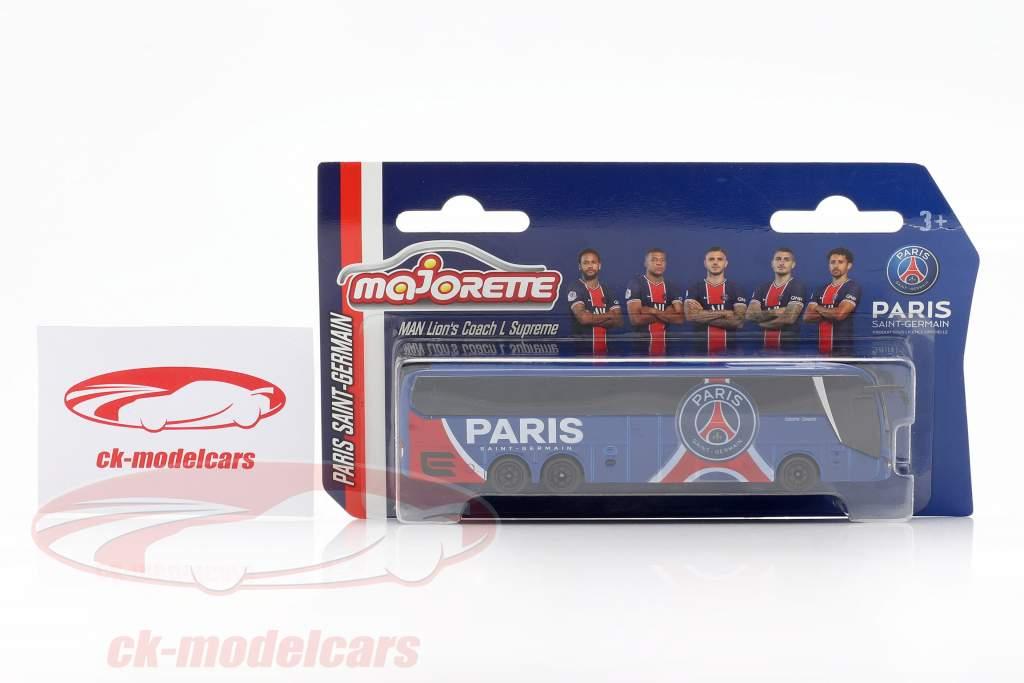 MAN Lion's Coach L Supreme Ônibus da equipe Paris Saint-Germain 2020 1:64 Majorette