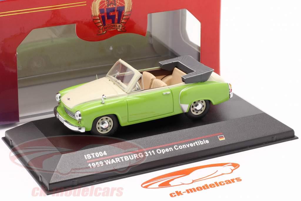 Wartburg 311 Cabrio an 1959 vert / crémeux blanc 1:43 IST-Models