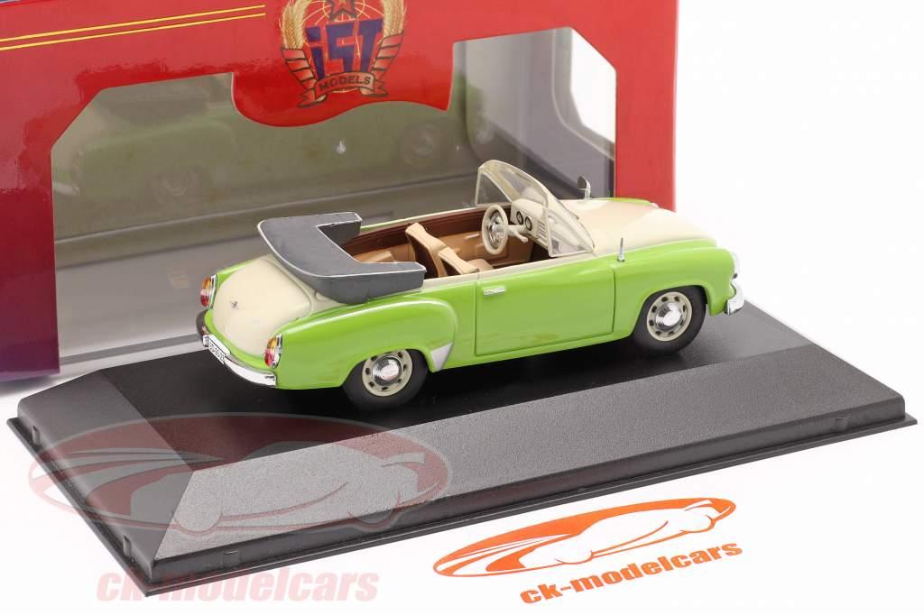 Wartburg 311 Cabrio jaar 1959 groen / romig wit 1:43 IST-Models