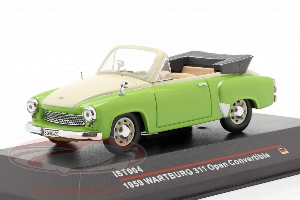 Wartburg 311 Cabrio år 1959 grøn / cremet hvid 1:43 IST-Models