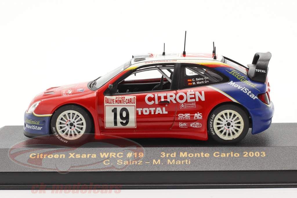 Citroen Xsara WRC #19 corrida Monte Carlo 2003 Sainz, Marti 1:43 Ixo