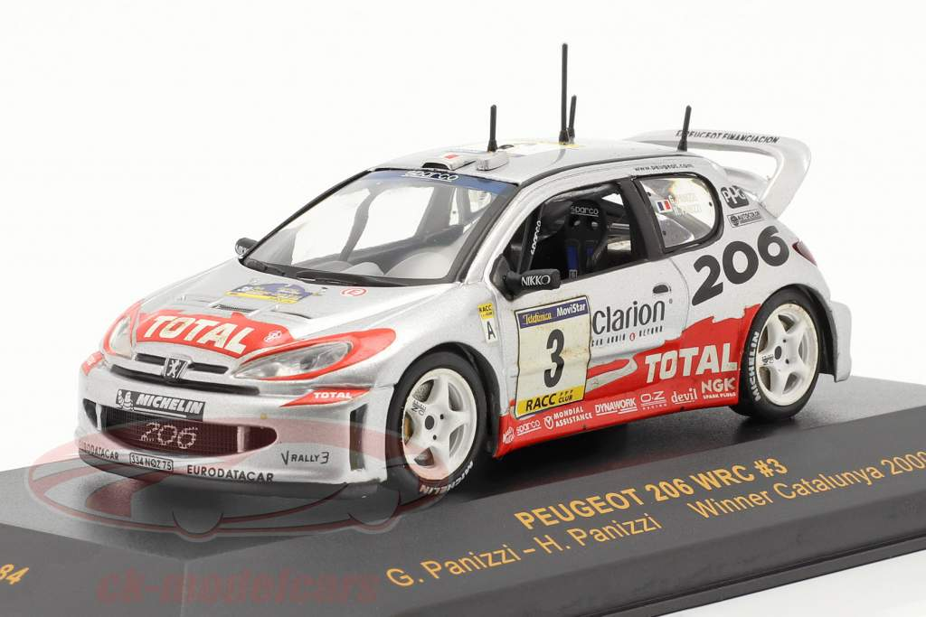 Peugeot 206 WRC #3 ganador reunión Catalunya 2002 Panizzi, Panizzi 1:43 Ixo