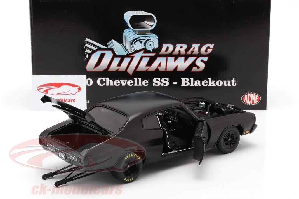 Chevrolet Chevelle SS Blackout Drag Outlaws 1970 mat zwart 1:18 GMP
