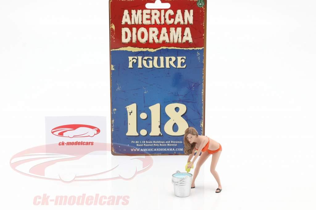 Bikini Car Wash Girl Cindy with bucket figure 1:18 American Diorama