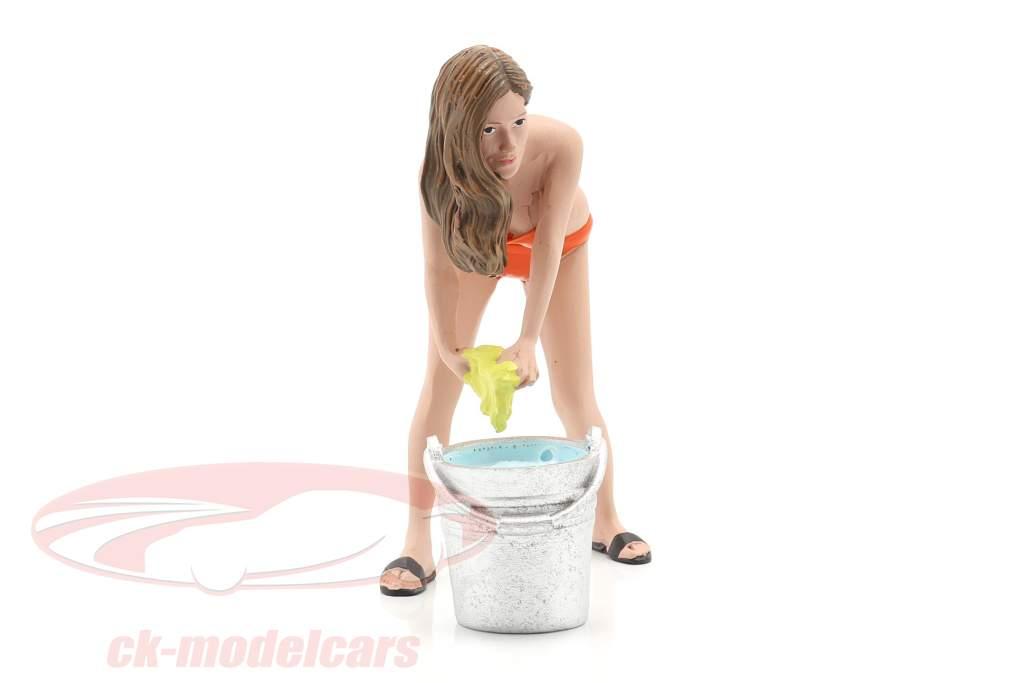 Bikini Car Wash Girl Cindy Con Cubeta figura 1:18 American Diorama