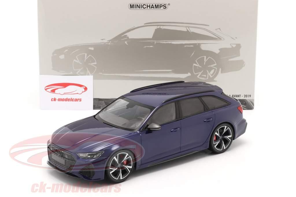 Audi RS 6 Avant (C8) Byggeår 2019 blå metallisk 1:18 Minichamps