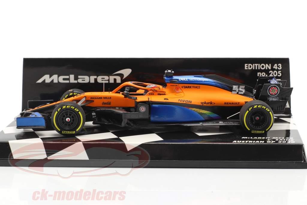 C. Sainz jr. McLaren MCL35 #55 5 ° austriaco GP formula 1 2020 1:43 Minichamps