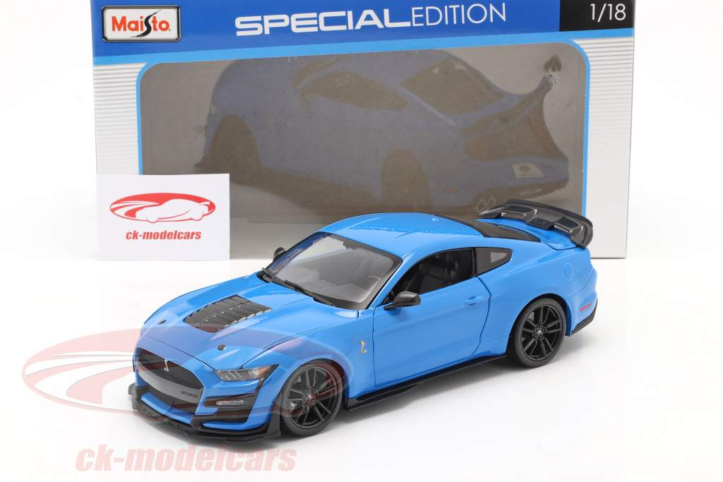 Ford Mustang Shelby GT500 Bouwjaar 2020 blauw 1:18 Maisto