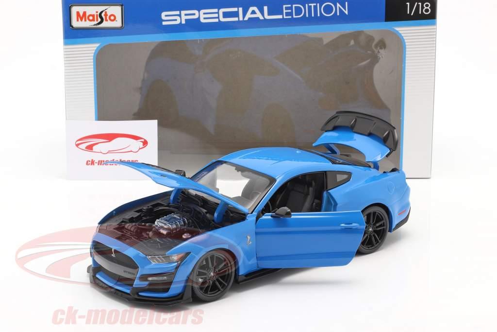 Ford Mustang Shelby GT500 Año de construcción 2020 azul 1:18 Maisto