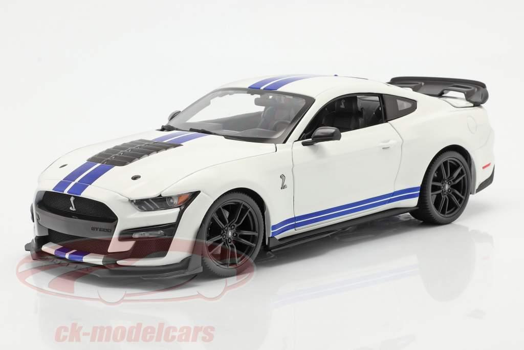 Ford Mustang Shelby GT500 Año de construcción 2020 blanco con azul rayas 1:18 Maisto