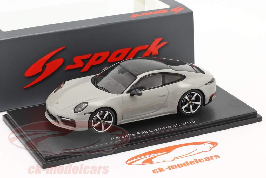 Porsche 911 (992) Carrera 4S Anno di costruzione 2019 grigio gesso 1:43 Spark