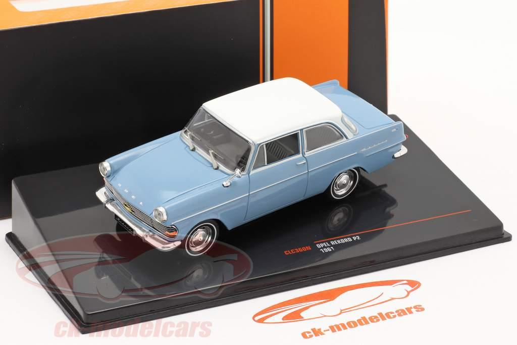 Opel Rekord P2 Anno di costruzione 1961 Azzurro / bianca 1:43 Ixo