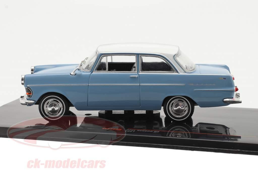 Opel Rekord P2 Année de construction 1961 Bleu clair / blanc 1:43 Ixo