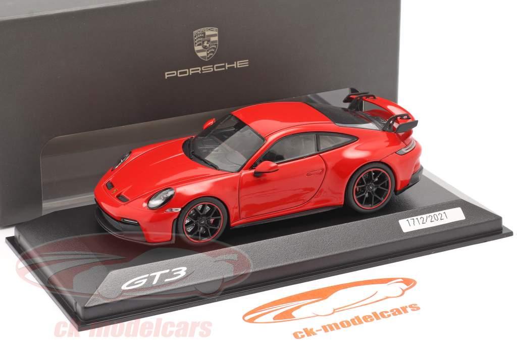 Porsche 911 (992) GT3 Bouwjaar 2021 bewakers rood 1:43 Minichamps