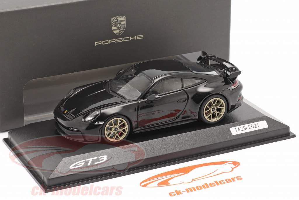 Porsche 911 (992) GT3 year 2021 deep black metallic 1:43 Minichamps