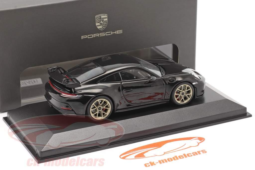 Porsche 911 (992) GT3 Bouwjaar 2021 diep zwart metalen 1:43 Minichamps