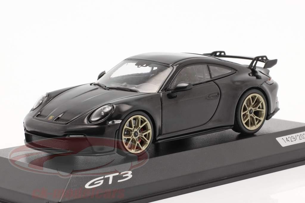 Porsche 911 (992) GT3 Anno di costruzione 2021 nero profondo metallico 1:43 Minichamps
