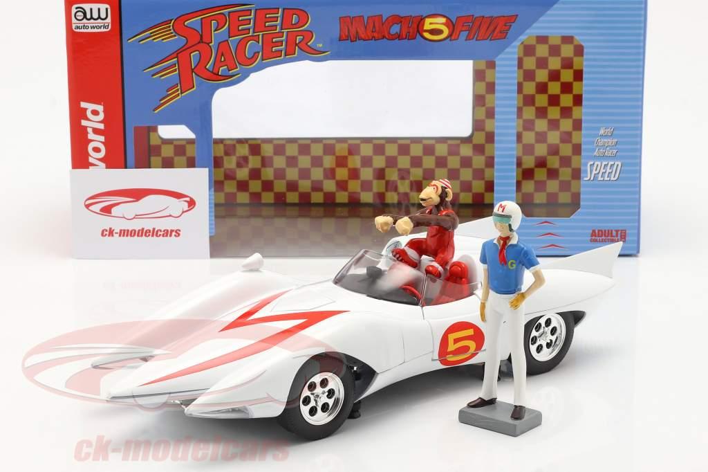 Speed Racer Mach 5 Met karakters Tv-animatieserie (1966-68) Wit 1:18 AutoWorld