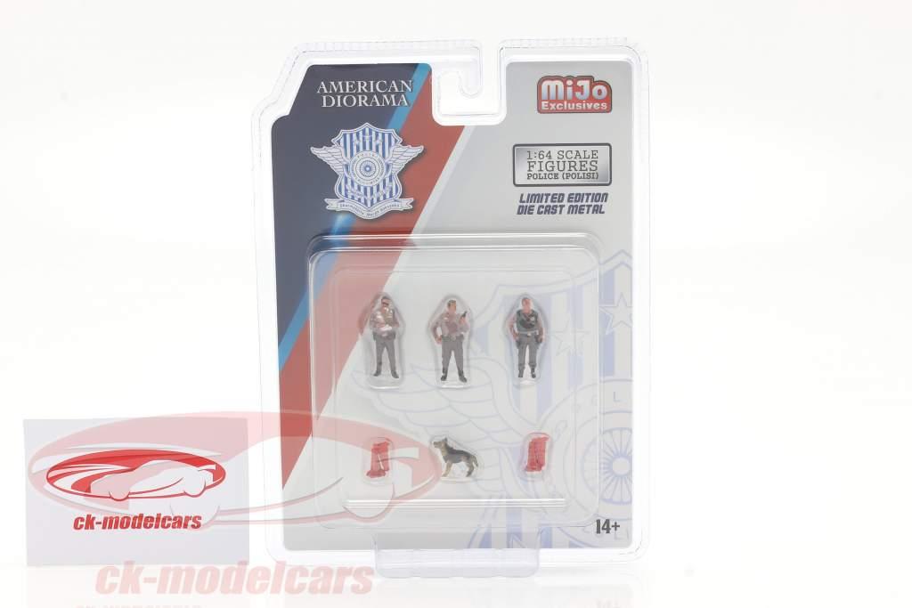 Polizei Figuren-Set mit Hund 1:64 American Diorama