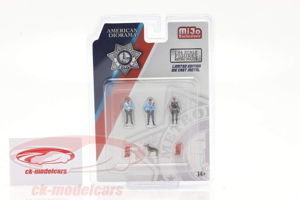 Metropolitan Police Conjunto de figuras Con perro 1:64 American Diorama