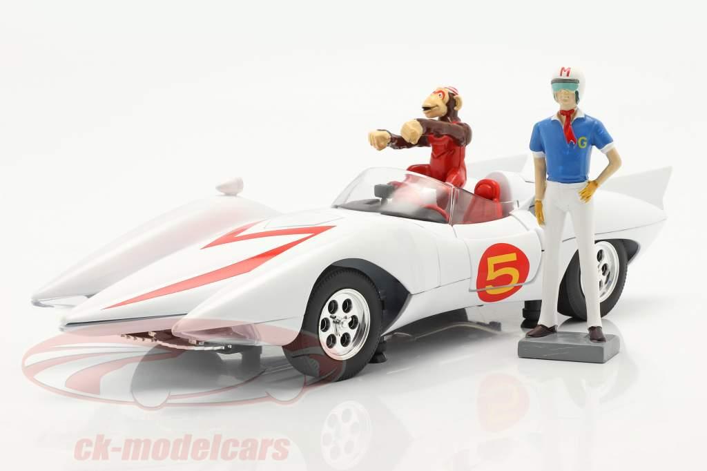 Speed Racer Mach 5 Avec personnages Série d'animation télévisée (1966-68) blanc 1:18 AutoWorld