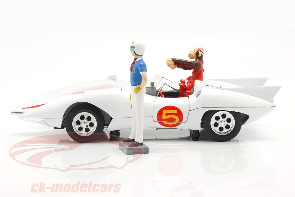 Speed Racer Mach 5 Con personaggi Serie TV di animazione (1966-68) bianca 1:18 AutoWorld