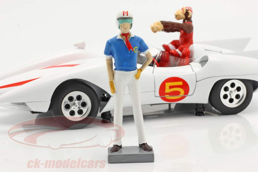 Speed Racer Mach 5 Com personagens Série de animação para TV (1966-68) Branco 1:18 AutoWorld