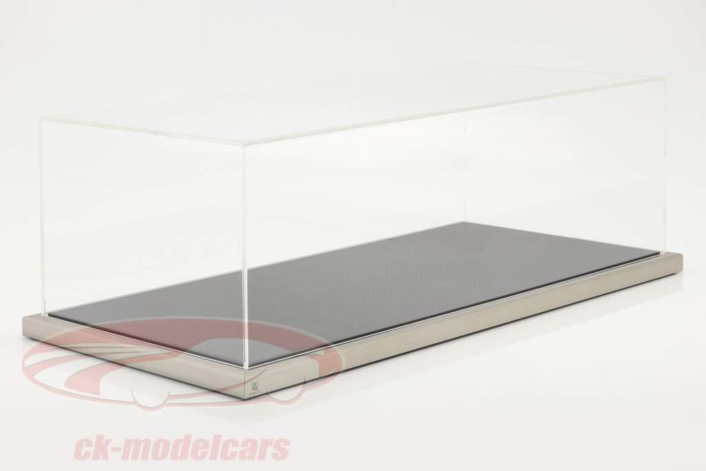 Haute qualité acrylique Vitrine Dieppe Carbon Avec Base acrylique / métal carbone / argent 1:8 Atlantic