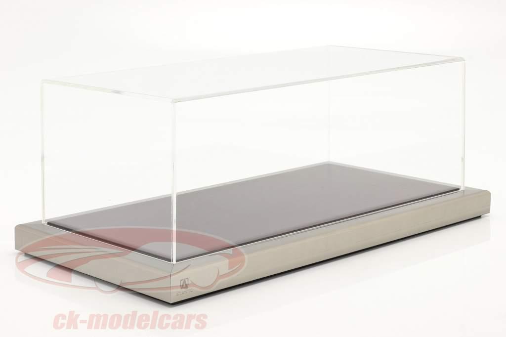 Van hoge kwaliteit acryl Showcase Goodwood Met Houten / metalen basis mahonie / zilver 1:18 Atlantic