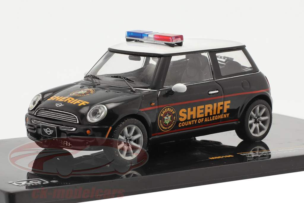 Mini Cooper politi USA år 2004 sort / hvid 1:43 Ixo
