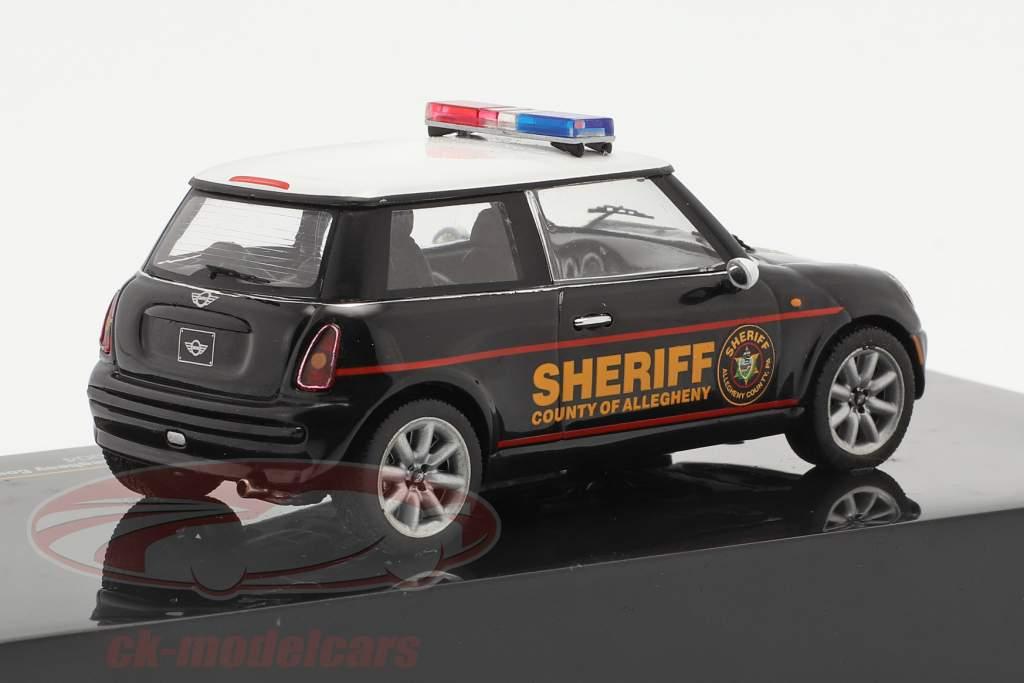 Mini Cooper polícia USA ano 2004 Preto / Branco 1:43 Ixo