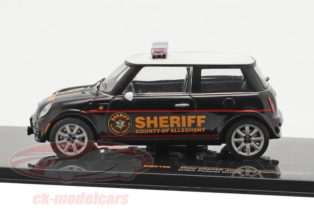 Mini Cooper police USA an 2004 noir / blanc 1:43 Ixo