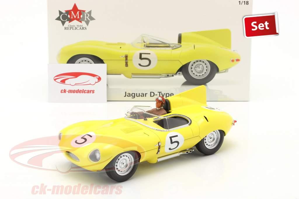 Set: Jaguar D-Type #5 Cuarto 24h LeMans 1956 Con Figura del conductor 1:18 CMR