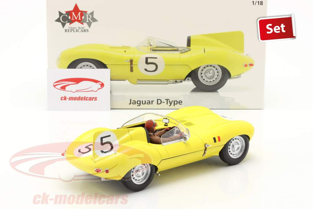 Set: Jaguar D-Type #5 4e 24h LeMans 1956 Met Driver figuur 1:18 CMR