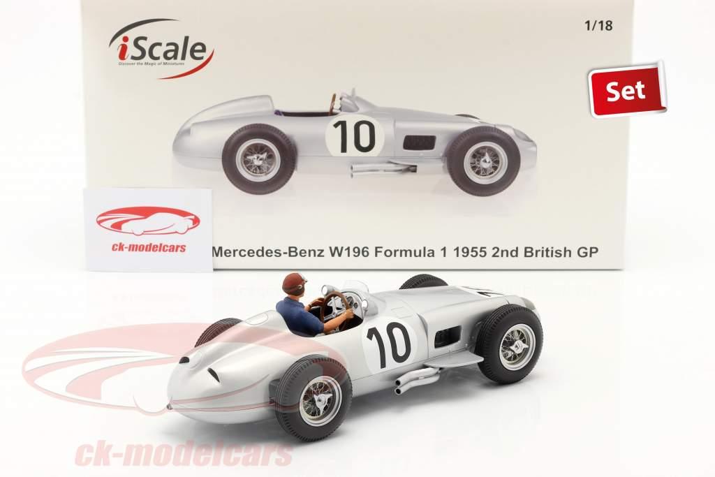 Set: J. M. Fangio Mercedes-Benz W196 #10 fórmula 1 1955 Con Figura del conductor azul camisa 1:18 iScale