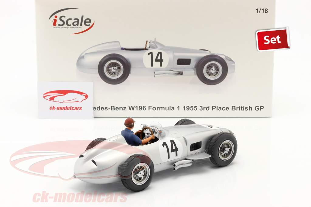 Set: K. Kling Mercedes-Benz W196 #14 formula 1 1955 with driver figure blue shirt 1:18 iScale