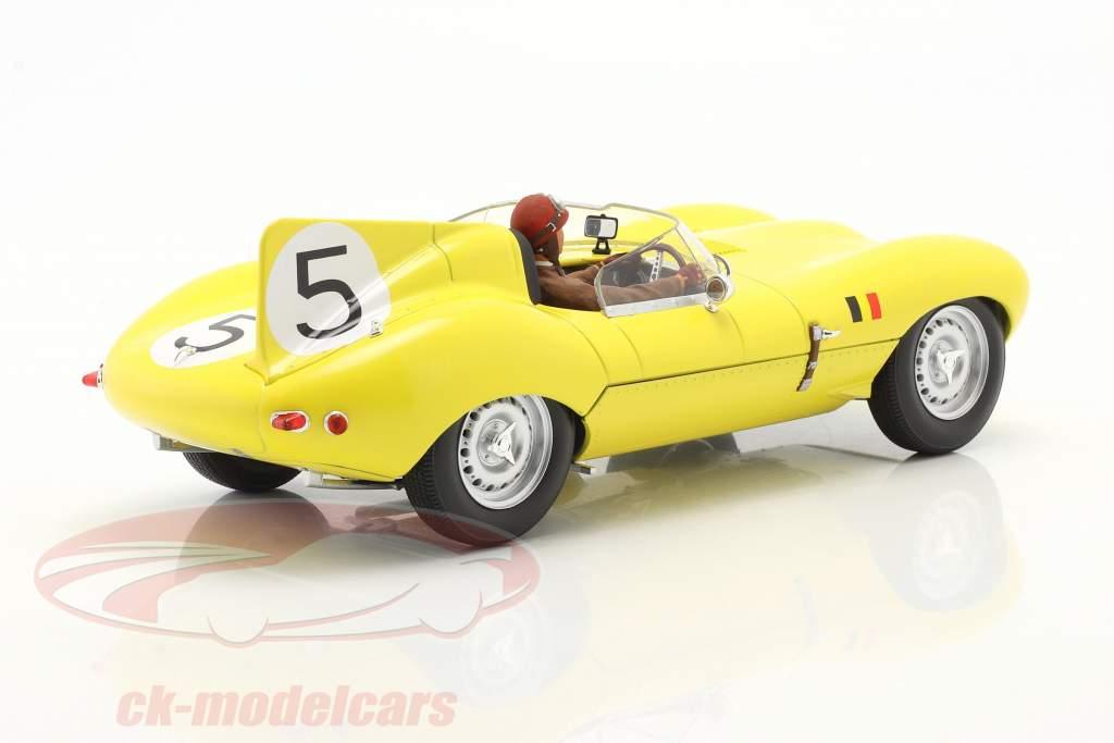 Set: Jaguar D-Type #5 4. plads 24h LeMans 1956 Med Driverfigur 1:18 CMR