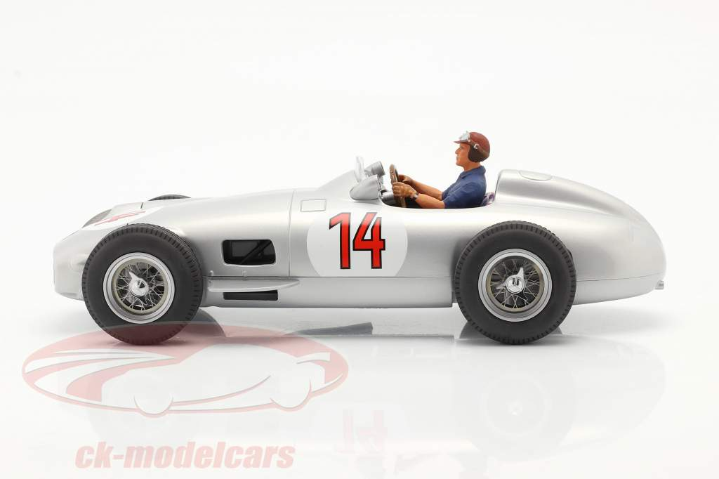 Set: S. Moss Mercedes-Benz W196 #14 Formel 1 1955 mit Fahrerfigur blaues Hemd 1:18 iScale