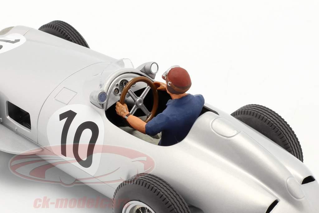 Set: J. M. Fangio Mercedes-Benz W196 #10 formel 1 1955 Med Driverfigur blå skjorte 1:18 iScale