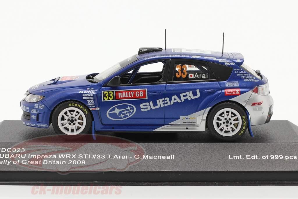 Subaru Impreza WRX STI #33 corrida Grã Bretanha 2009 Arai, Macneall 1:43 Ixo