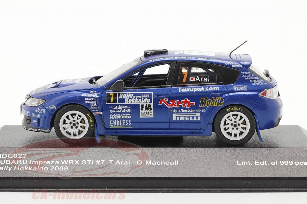 Subaru Impreza WRX STI #7 se rallier Hokkaido 2009 Arai, Macneall 1:43 Ixo