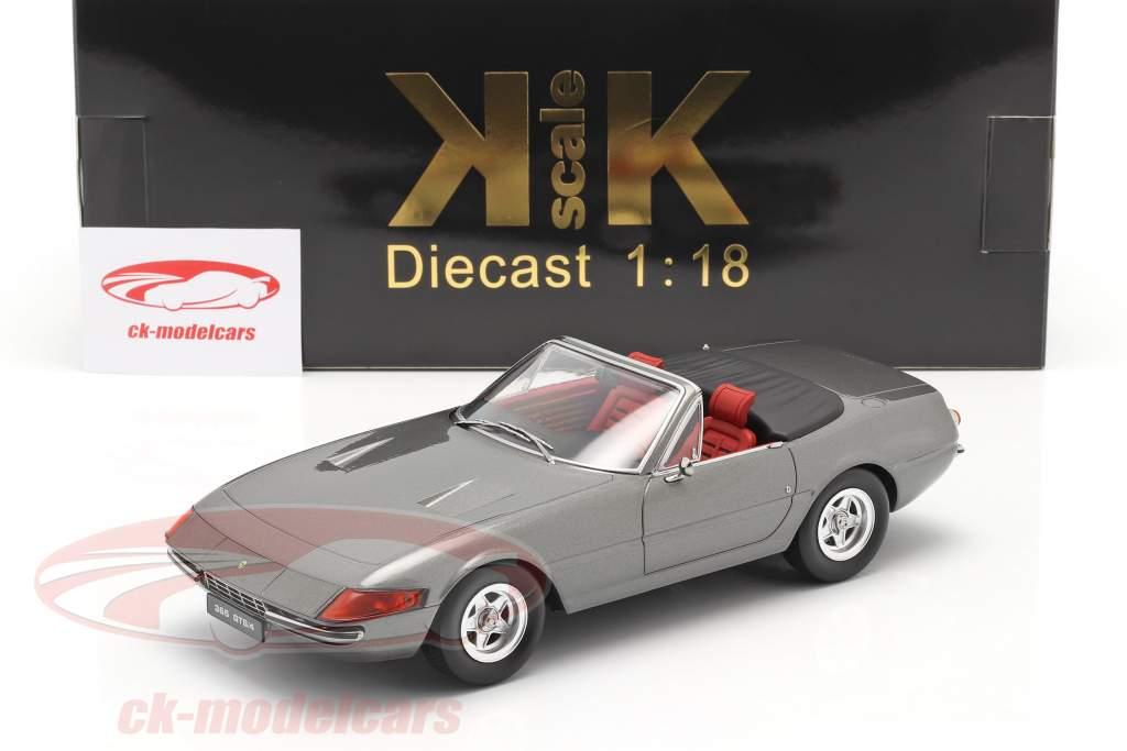 Ferrari 365 GTB/4 Daytona Converteerbaar Serie 2 1971 Grijs metalen 1:18 KK-Scale