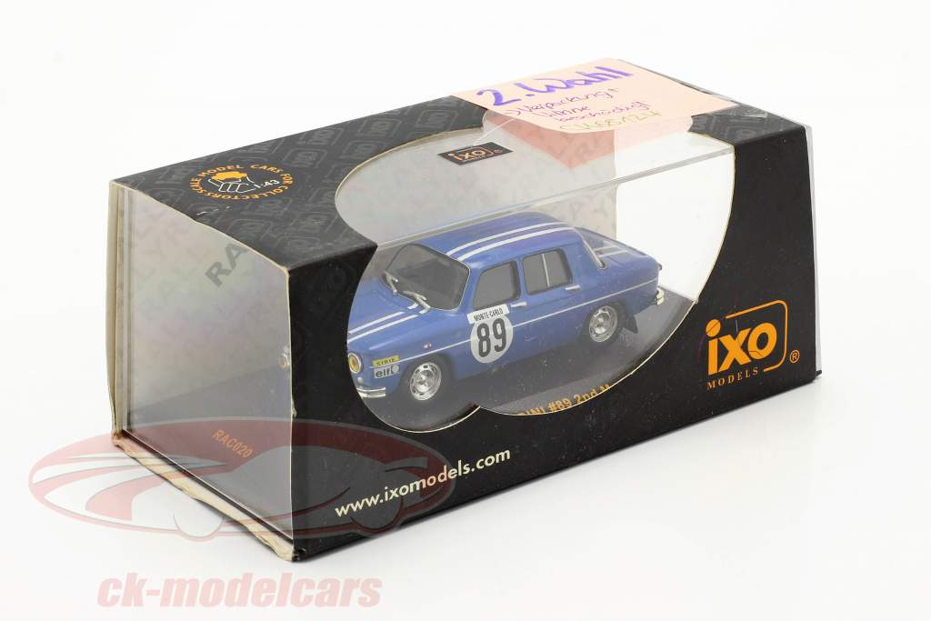 Renault 8 Gordini #89 se rallier Monte Carlo 1969 Therier, Callewaert 1:43 Ixo / 2. choix