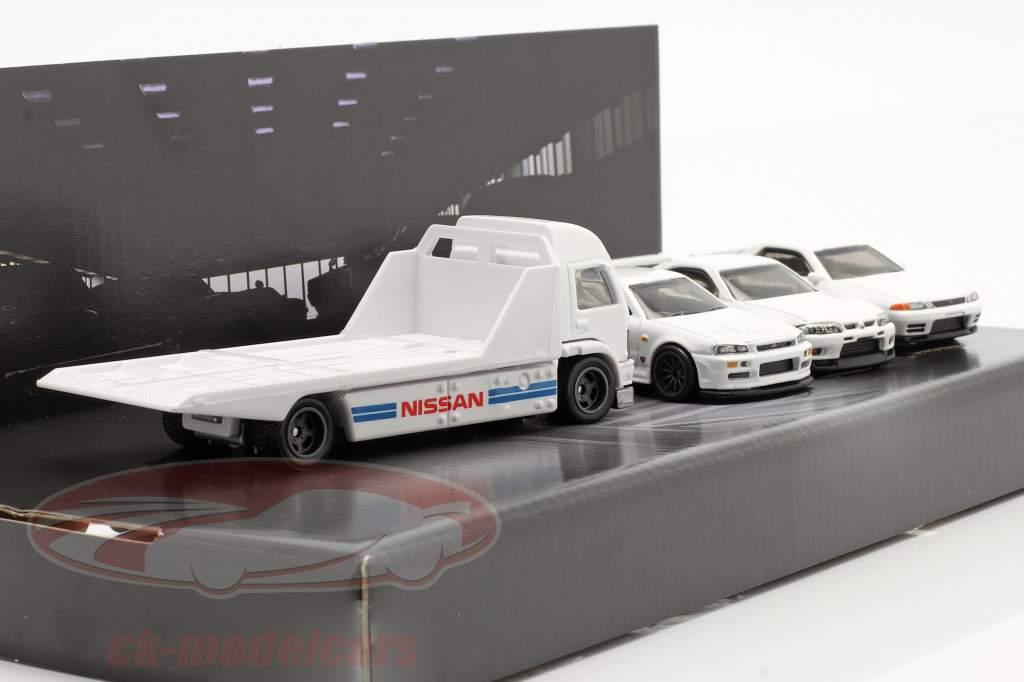 4-Car Set Nissan: Oplegger Vrachtauto & 3x Nissan Skyline Wit 1:64 HotWheels
