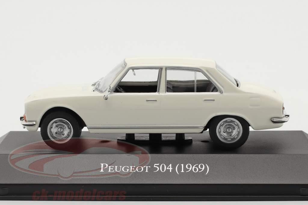 Peugeot 504 Byggeår 1969 hvid 1:43 Altaya