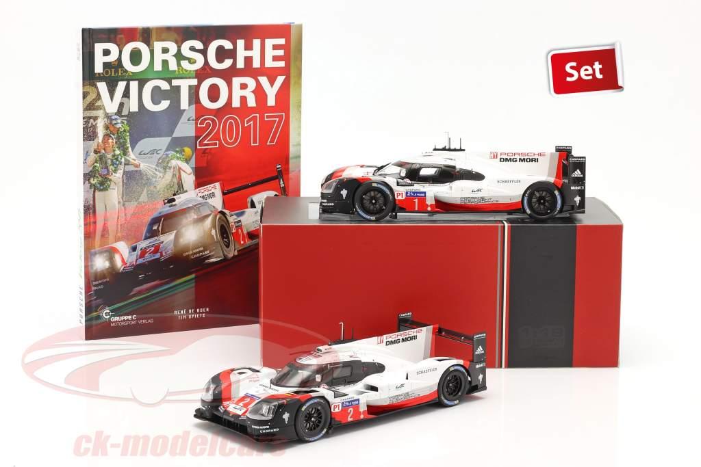 2-Car Set と 本: Porsche 919 Hybrid #1 #2 勝者 24h LeMans 2017 1:18 Ixo