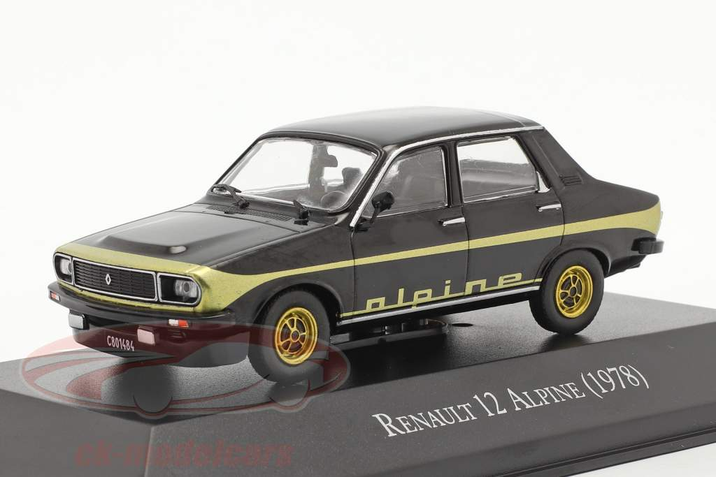 Renault 12 Alpine Année de construction 1978 noir / or 1:43 Altaya