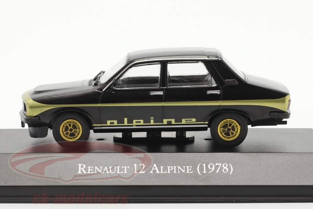 Renault 12 Alpine Anno di costruzione 1978 nero / oro 1:43 Altaya